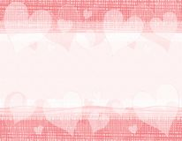 Rustic Canvas Valentine Hearts Border Stock Photography
