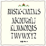 Rustic capitals alphabet. Square-cut nib black ink calligraphy Stock Photo