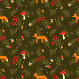 Rustic cartoon autumn forest seamless vector pattern. Stock Photography