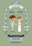 Rustic cartoon couple wedding card. On green background Stock Images