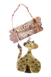 Rustic Cat welcome sign Stock Images