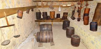 Rustic cellar. Image of a rustic traditional cellar stock photo