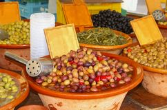 Rustic ceramic bowls with Mediterranean olives Stock Photography