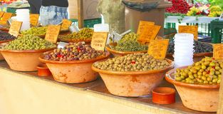 Ceramic bowls with olives, Spanish cuisine  Stock Photo