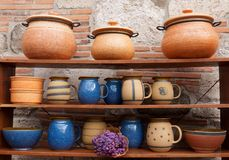 Rustic ceramic dishes Royalty Free Stock Image