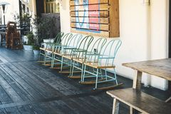 Rustic chairs at Anaheim Packing House stock photos