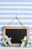 Rustic chalkboard on stripes Stock Photos