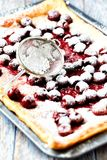 Rustic cherry cake dusted with icing sugar royalty free stock images