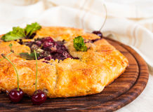 Rustic cherry galette pie Royalty Free Stock Photos