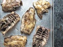 Rustic chicken bones leftovers soup ingredient Stock Photos