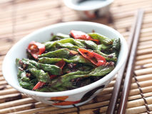 Rustic chinese long snake bean stir fry Stock Photography