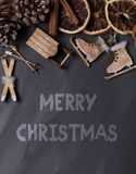 Rustic christmas background. With the text Merry Christmas royalty free stock photos