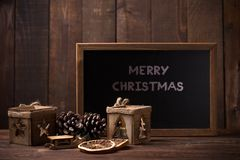 Rustic christmas background. With the text Merry Christmas stock photography