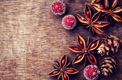 Rustic Christmas Background With Star Anise Stock Photos