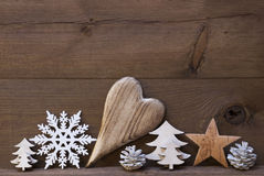 Rustic Christmas Decoration, Heart, Snowflake, Star, Tree Stock Images