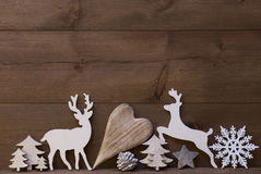 Rustic Christmas Decoration, Heart, Snowflake, Tree, Reindeer Stock Image