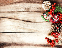 Rustic Christmas Decoration on natural wooden board  texture wi Royalty Free Stock Photography