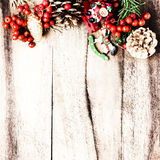 Rustic Christmas Decoration on natural wooden board  texture wi Stock Photo