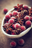 Rustic christmas decoration with star anise stock images