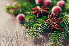 Rustic christmas decoration with star anise Stock Photo