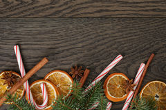 Rustic christmas decorations on old oak table Stock Image