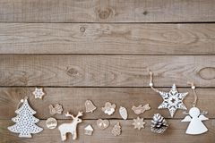 Rustic Christmas decorative, Xmas ornament. On wood background. vintage style, top view stock photos
