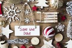 Rustic Christmas Flat Lay, Text Save The Date stock photography