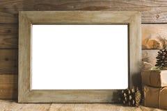 Rustic christmas frame mockup Stock Images