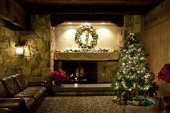 Rustic Christmas Living Room Stock Photo