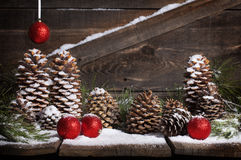 Rustic Christmas Pinecones Royalty Free Stock Photo
