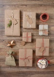Rustic Christmas Presents and Cocoa Stock Photos
