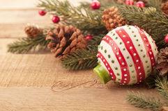Rustic Christmas Still Life in Bright Light Royalty Free Stock Photo