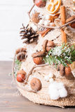 Rustic Christmas topiary Royalty Free Stock Photo