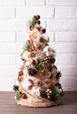 Rustic Christmas topiary Stock Images