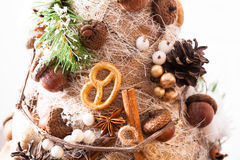 Rustic Christmas topiary Stock Photography