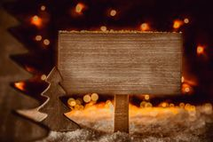 Rustic Christmas Tree, Snowflakes, Copy Space, Sign, Snow stock photo