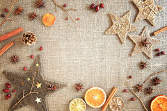 Rustic Christmas / winter border Royalty Free Stock Image