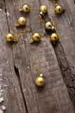 Rustic Christmas wood background with ball and copy space Royalty Free Stock Photos