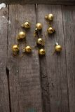 Rustic Christmas wood background with ball and copy space Stock Photos