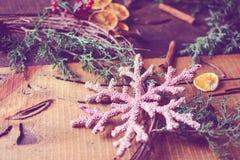 Rustic Christmas Wreath cozy holiday home Christmas card stock image