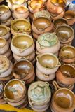 Rustic clay pots that are used in traditional cooking and in rur Royalty Free Stock Images