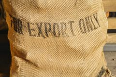 Rustic coffee bean bag. With `For Export Only` written on front - logistics import/export concept Stock Photo