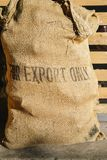 Rustic coffee bean bag. With `For Export Only` written on front - logistics import/export concept Royalty Free Stock Images