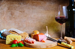 Rustic cold plate dinner stock photo