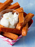 Rustic comfort food snack spam fries. Close up of rustic comfort food snack spam fries Royalty Free Stock Images