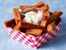 Rustic comfort food snack spam fries. Close up of rustic comfort food snack spam fries Stock Photo