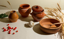 Rustic composition of pottery Royalty Free Stock Images