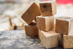 Rustic concepts, homemade wooden cubes Royalty Free Stock Photography