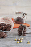 RUSTIC COOKIES COCOA AND PISTACHIOS. RUSTIC COOKIES COCOA STACKED AND PISTACHIOS Stock Images