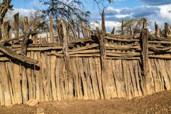 Rustic corral. Made with pieces of guayacan wood royalty free stock image